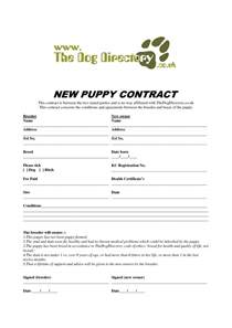 free printable puppy deposit contract