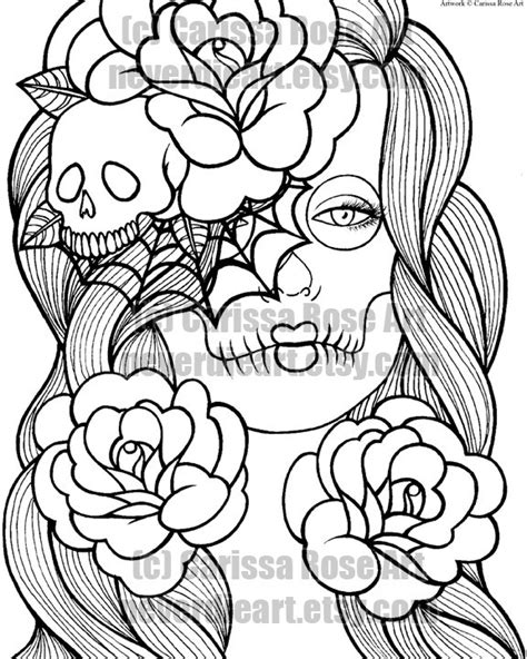 Digital Download Print Your Own Coloring Book Outline Page Girly Sugar Skull Coloring Pages