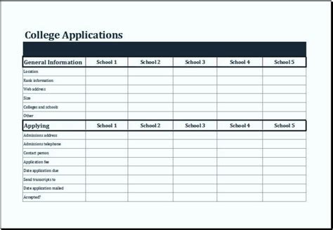 ms excel college comparison worksheet template