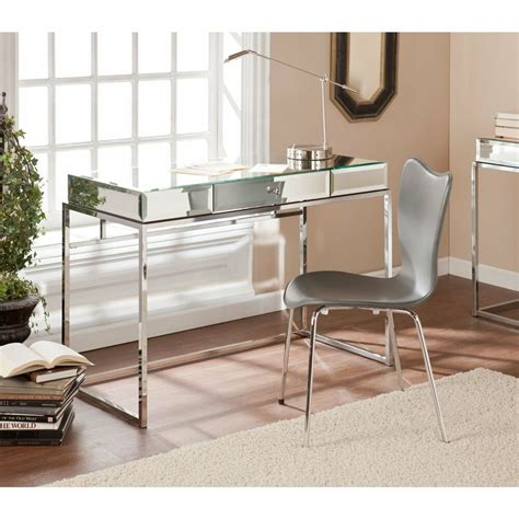 southern enterprises mirrored desk with drawer ho9274