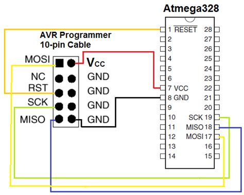 avr pin diagram microcontroller connecting atmega328 to pgm03a