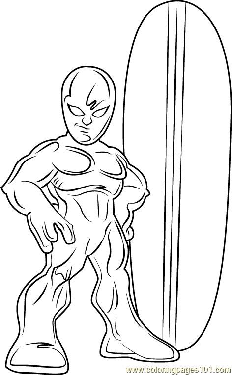 surfer coloring pages silver surfer coloring page free the super hero squad