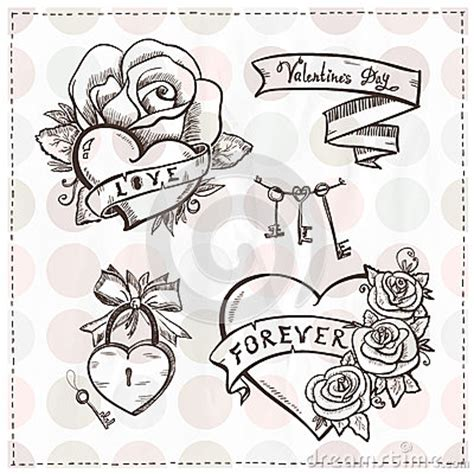 school graphic hearts  roses  ribbons stock