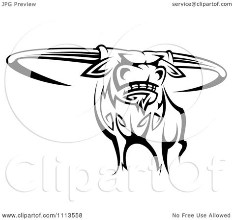 tribal longhorn tattoo clipart black and white tribal longhorn steer bull 2