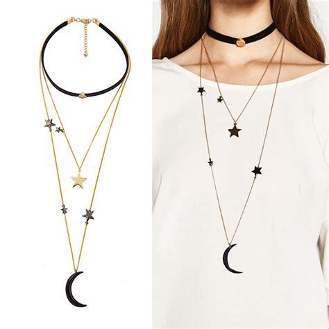 Kalung Fashion Choker Metal Shape Layer black velvet choker necklaces for three layers metal moon pendant necklace fashion