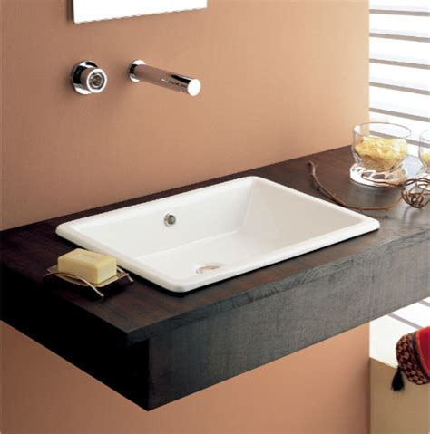 wide rectangular contemporary vessel or built in bathroom