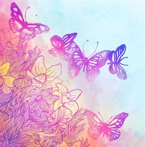sfondi fiori e farfalle sfondo con farfalle e fiori foto stock 169 vgorbash 40838799