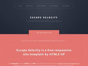 escape velocity template escape velocity free website template free css templates