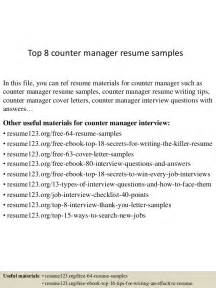 resume format counter salesman top 8 counter manager resume sles