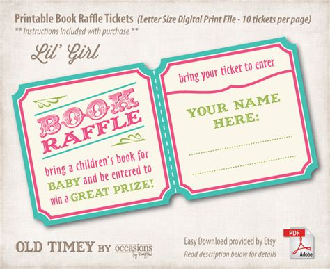 printable raffle ticket books instant download printable baby shower book raffle tickets