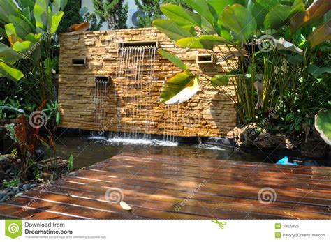 decorative home garden waterfall pond royalty free