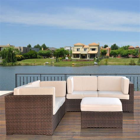 White Outdoor Sectional by Atlantic Lifestyle Brown 5 Patio