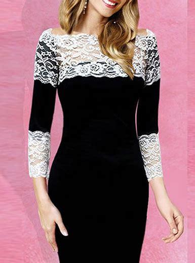 White Lace Black Cotton Dress womens knee length dress two tone white lace black