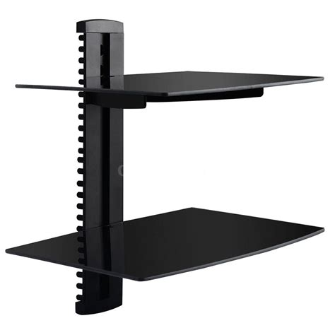 Wall Shelf For Cable Box Tv by Dual Glass Shelf Tv Wall Mount Bracket Component