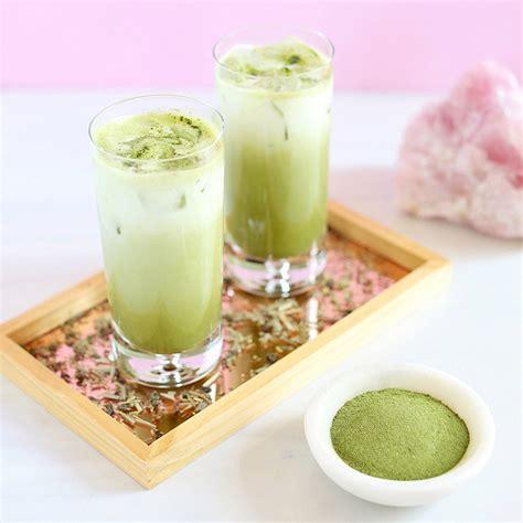 homemade flower food recipe justinecelina iced coconut ginger matcha latte justinecelina