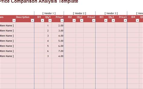 price comparison analysis template my excel templates