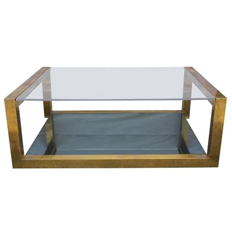 modern brass table l modern brass lucite and smoked glass rectangular coffee
