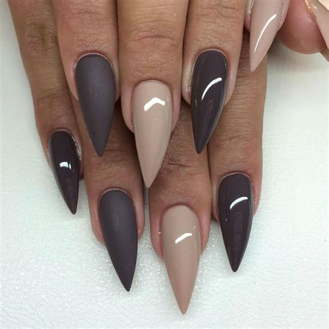 matte pointed nails 55 most stylish matte stiletto nail designs