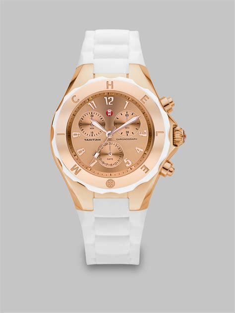 michele tahitian jelly bean goldtone stainless steel