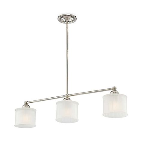 Minka Lavery Island Lighting Minka Lavery 174 1730 Series 3 Light Island Fixture In Polished Nickel With Glass Shade Bed Bath