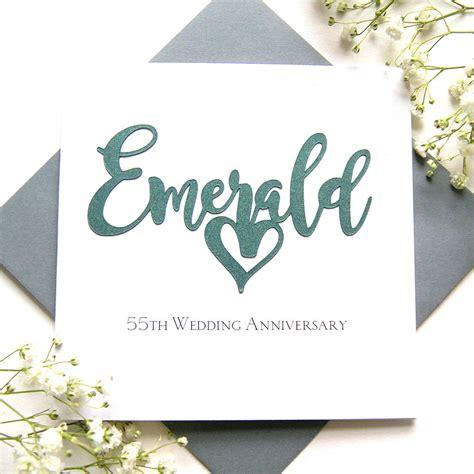 emerald 55th wedding anniversary card by the hummingbird card company notonthehighstreet