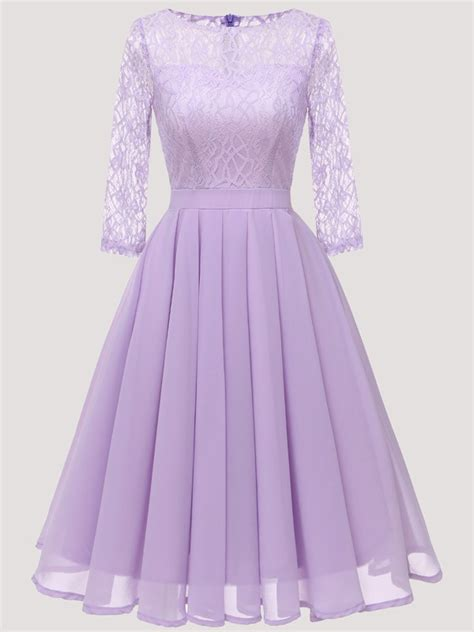 purple patchwork lace pleated  neck long sleeve midi