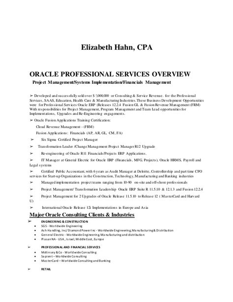 oracle erp project manager resume resume ideas