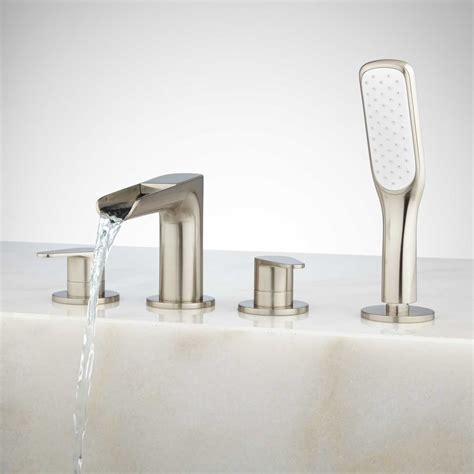 bathtub faucets with hand shower signature hardware pagosa roman waterfall tub faucet and