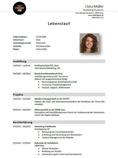 Word Vorlage Lebenslauf Mit Bild lebenslauf tipps und vorlagen studentjob at