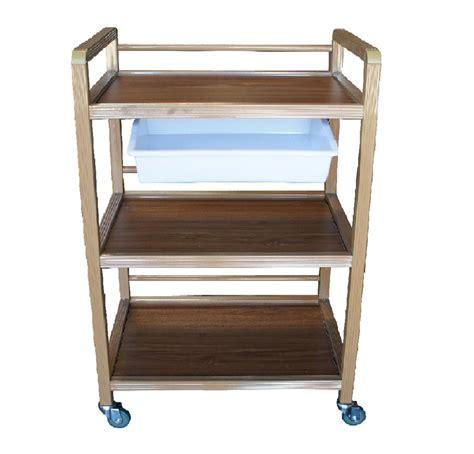 Three Shelf Rolling Cart by 3 Shelf Storage Wooden Handle Tray Trolley Rolling