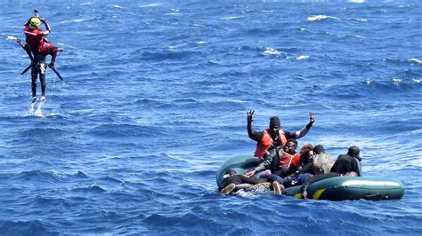 sinking rubber boat a raft capsizes can spanish rescuers reach everyone in