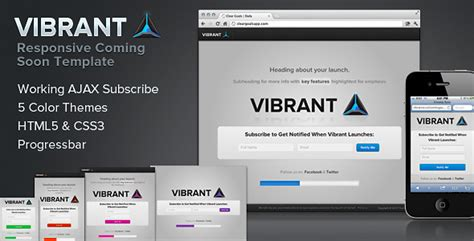 Vibrant Coming Soon Responsive Launch Template By Bryanmcanulty Themeforest Website Launch Template