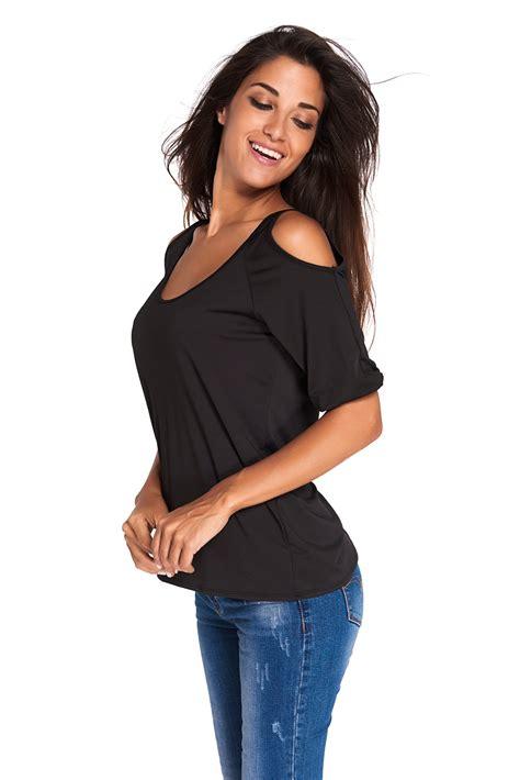 Black Flower Cold Shoulder Top Size S M L Fashion Black Neck Cold Shoulder Oversize Top