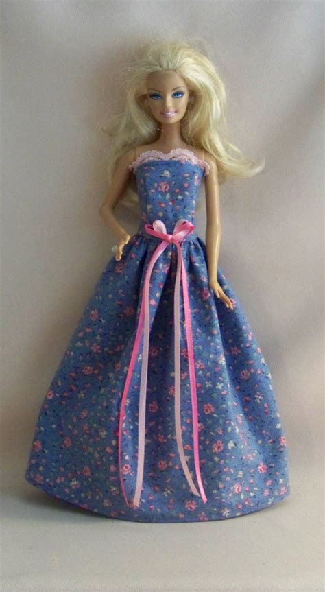 handmade clothes blue with pink roses gown