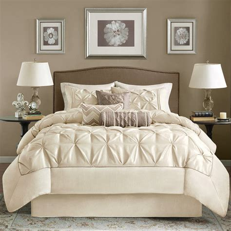 ivory comforter king beautiful modern elegant chic cream ivory white taupe