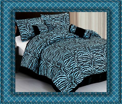 7pc blue zebra animal print comforter bedding set king bed