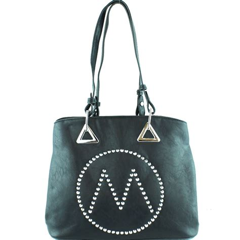 Ezra Studded Ab Bag Black ab 9041 concealed carry fashion quot m quot studded tote bag