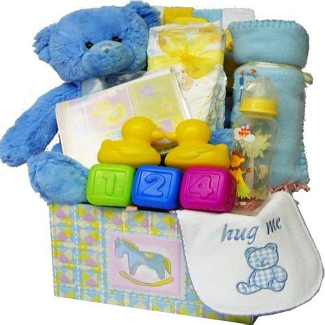 sweet baby care package gift box with teddy bear blue