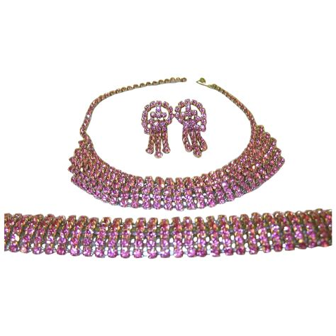 rhinestone earrings vintage pink rhinestone necklace bracelet earring set