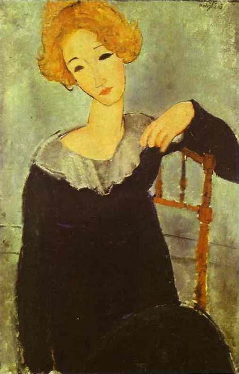 modigliani woman with a woman with red hair amedeo modigliani wikiart org