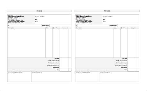 construction receipt template 14 construction receipt templates doc pdf free