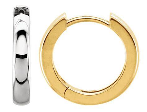 Platinum 11 50 Mm Hinged Earrings single 11 5mm 7 16 quot hinged huggie earring in yellow or