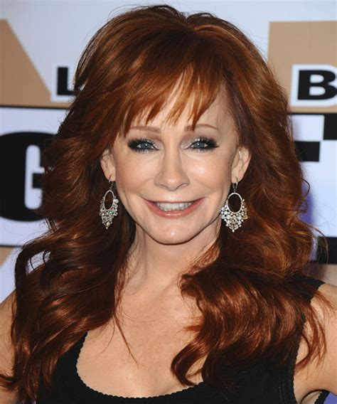 Reba McEntire Long Wavy Formal Hairstyle with Layered