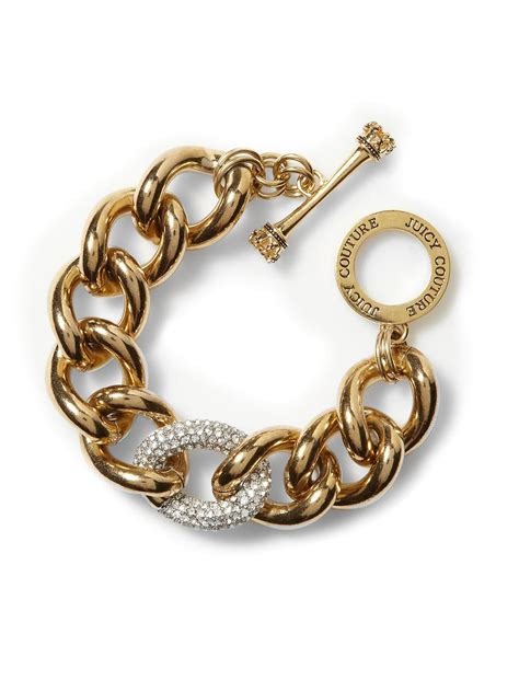 couture luxe rocks pave link bracelet in gold lyst