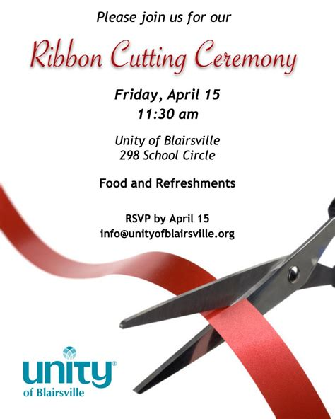ribbon cutting template ribbon cutting ceremony unity of blairsville