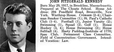 john f kennedy biography information john f kennedy s 1940 harvard college yearbook entry