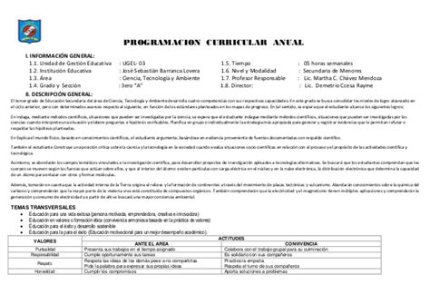 programacion curricular 2017 area cta programacion curricular de cta 3 186 ccesa1156
