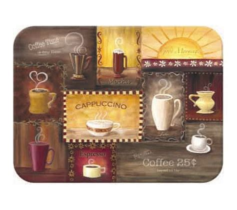 tuftop quot coffee time quot tempered glass kitchen board qvc com