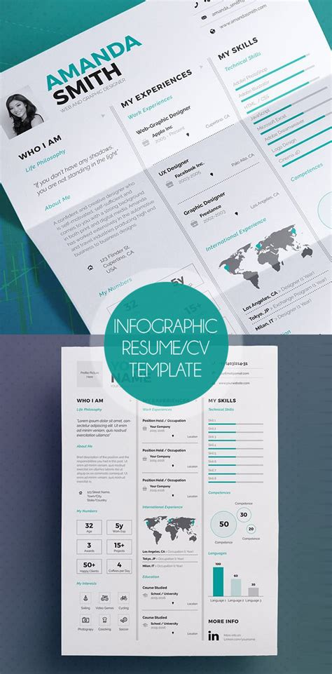 Infographic Resume Template Docx Free New Professional Cv Resume Templates With Cover Letter Design Graphic Design Junction
