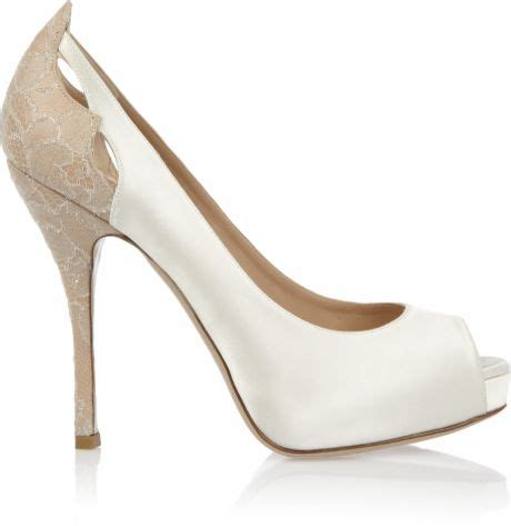 Pumps Ivory Spitze by Valentino Satin And Crystalembroidered Lace Pumps In White